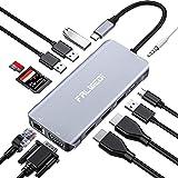 Falwedi UC0214 Triple Display 12 in 1 USB C Hub with 2 HDMI & VGA, PD3.0, Ethernet, SD TF Card Reader, 4 USB Port, Mic/Audio,