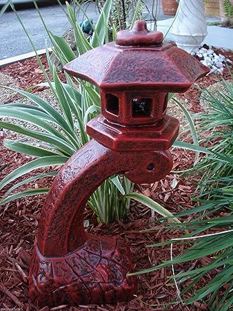 Good Concrete Statue Red Pagoda Bow Lantern Oriental Lantern Japanese Decor Art  Home Garden 17.5u0026quot; ...