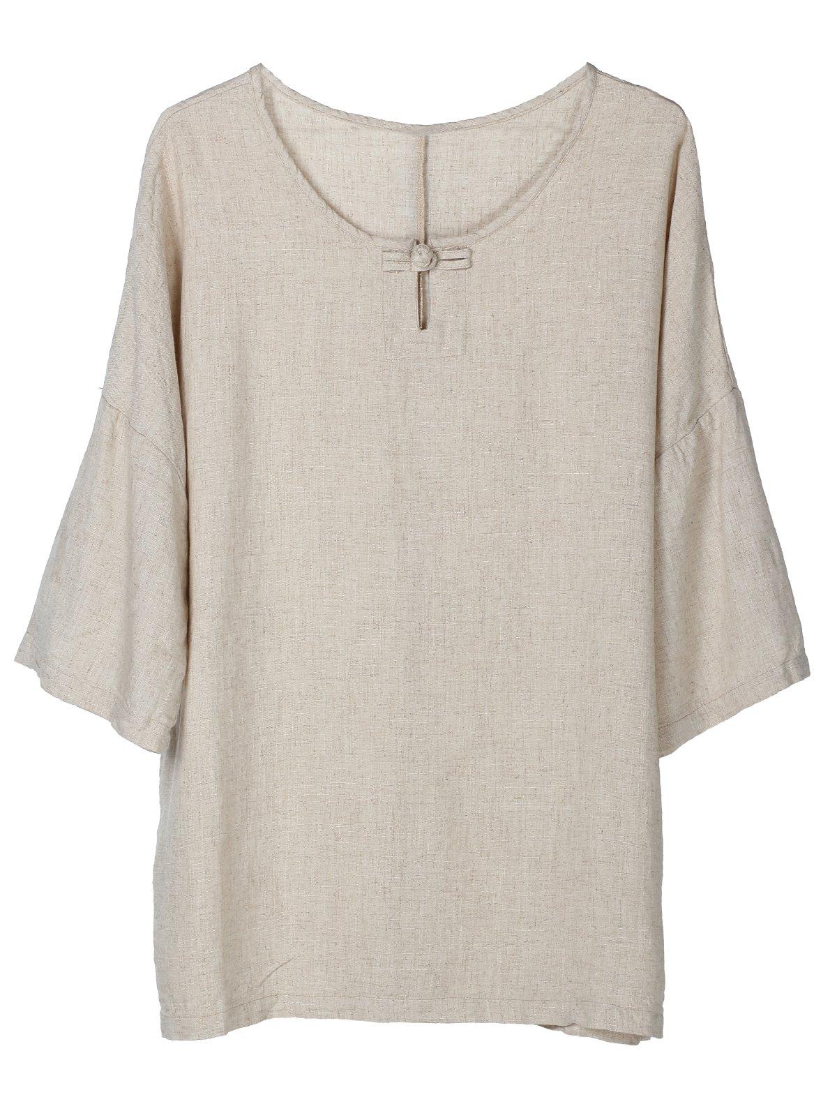 Minibee Women's Elbow Sleeve Linen Tunic Tops Solid Color Retro Blouse Linen 2XL