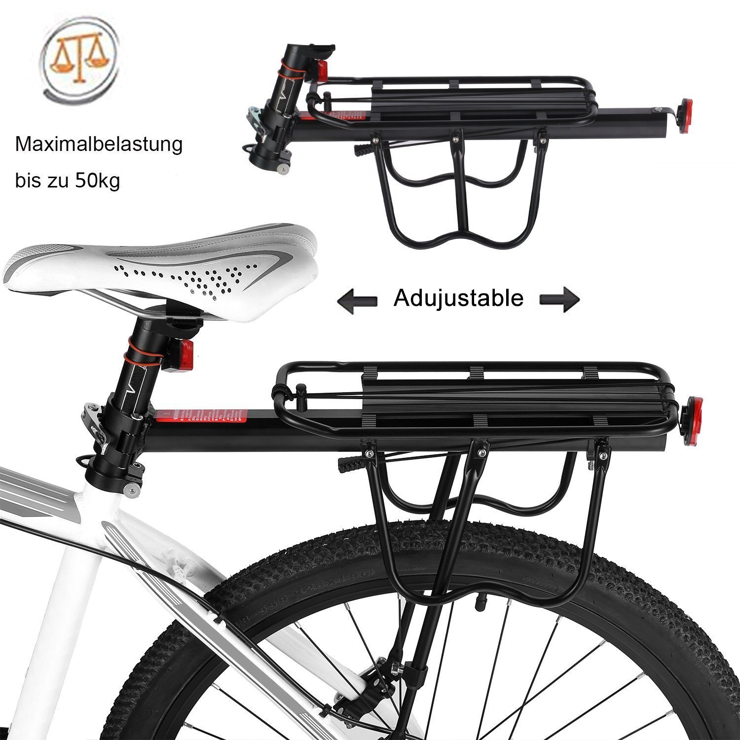 Bike Cargo Racks Bicycle Pannier Rack Mountain Carrier Rear Rack Seat Load 50Kg Luggage Bags for Cycling Camping Sport by Calar (Image #4)
