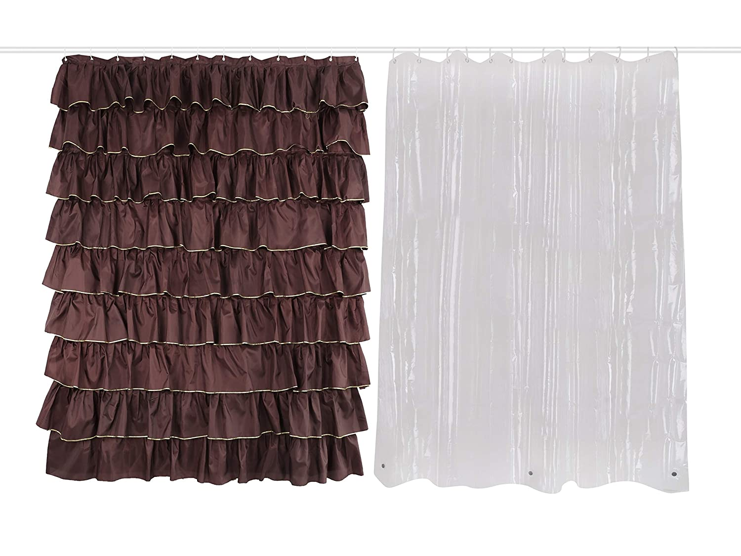 Amazon Dora Liz Sets 2 Pack Brown Shower Curtain Golden Ruffle Fabric And Clear Liner With Hooks For Bathroom Extra Long 72x72
