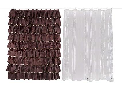 Amazon Dora Liz Sets 2 Pack Brown Shower Curtain Golden