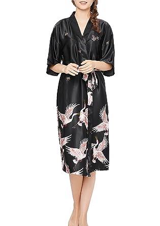 815243921d Uhnice Womens Robes Long Kimono Satin Nightwear Soft Nightgown Sleep Wear  Dress (Medium, Black