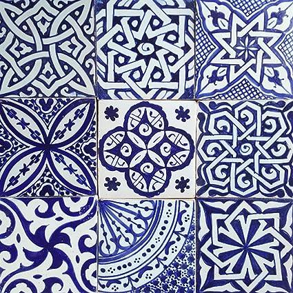 Casa Moro Hbf8400 Oosterse Tegelmix 10x10 Cm Blauw Wit Verpakking Van 9 Handbeschilderde Marokkaanse Tegels Patchwork Kunsthandwerk Uit Marokko Wandtegels Voor Mooie Keuken Douche Badkamer Amazon Nl