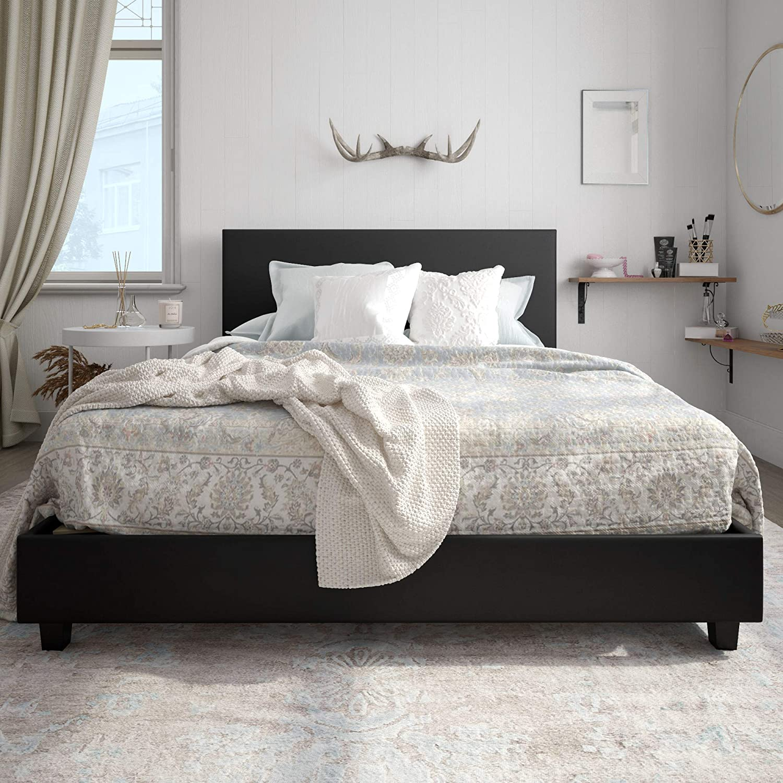 Carley Upholstered Bed, Black, Full Dorel Home Products DZ22774