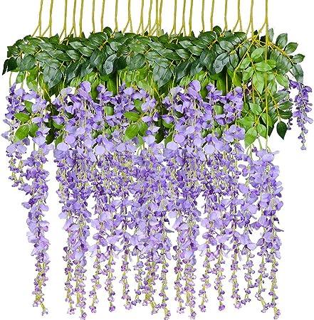 FLOR FALSA Artificial Wisteria Colgante Vine 12 Pack 3.6FT / Pcs Flores Falsas Guirnalda De Cadena Natural para La Ceremonia De Boda Fiesta De Arco Inicio Jardín Decoración De Boda,Purple: Amazon.es: Hogar