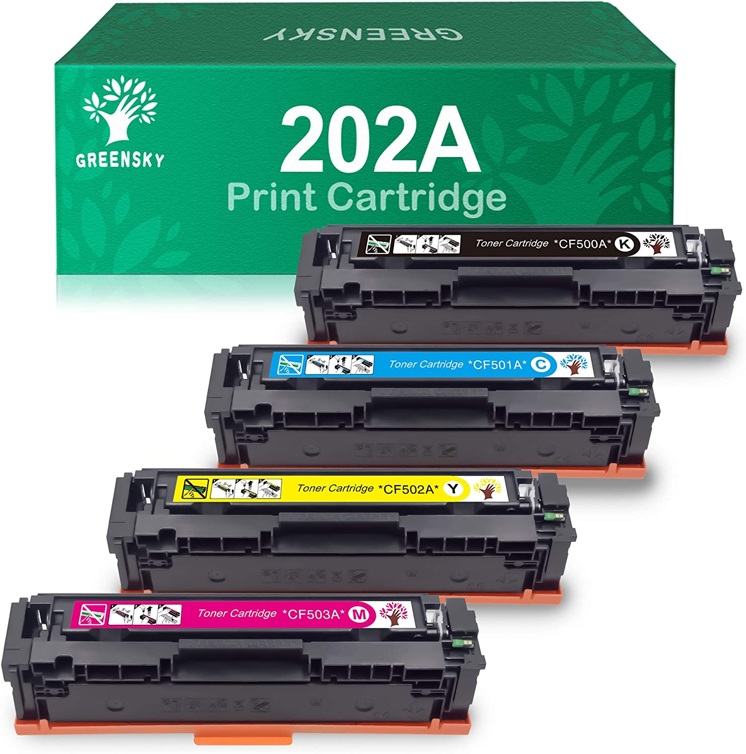 GREENSKY Compatible Toner Cartridge Replacement for HP 202A M281fdw CF500A for HP Laserjet Pro MFP M281fdw M254dw M281cdw M281dw M280nw CF501A CF502A CF503A Printer (BCMY, 4-Pack)