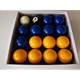 Blue and Yellow 2 Inch Pool Ball Set (1 7/8 Inch Cue Ball)