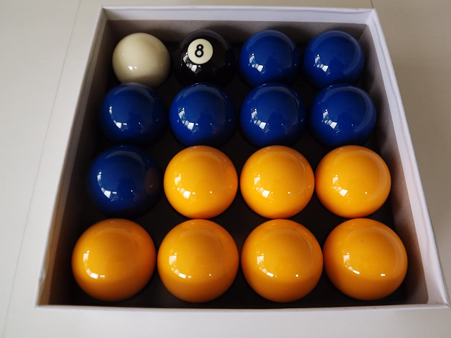 Blue and Yellow 2 Inch Pool Ball Set (1 7/8 Inch Cue Ball) Professional