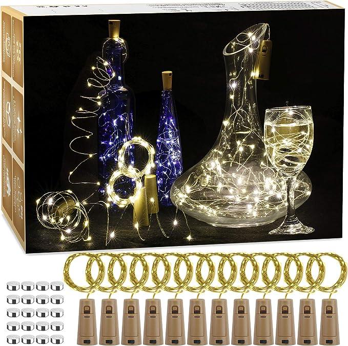 Flaschen licht au/ßen//innen Beleuchtung Deko Warmwei/ß Hochzeit Halloween Garten Weihnachten BACKTURE 2M 20 LEDs Flaschenlicht Glas Korken Licht Kupferdraht f/ür flasche f/ür Party 20 St/ück