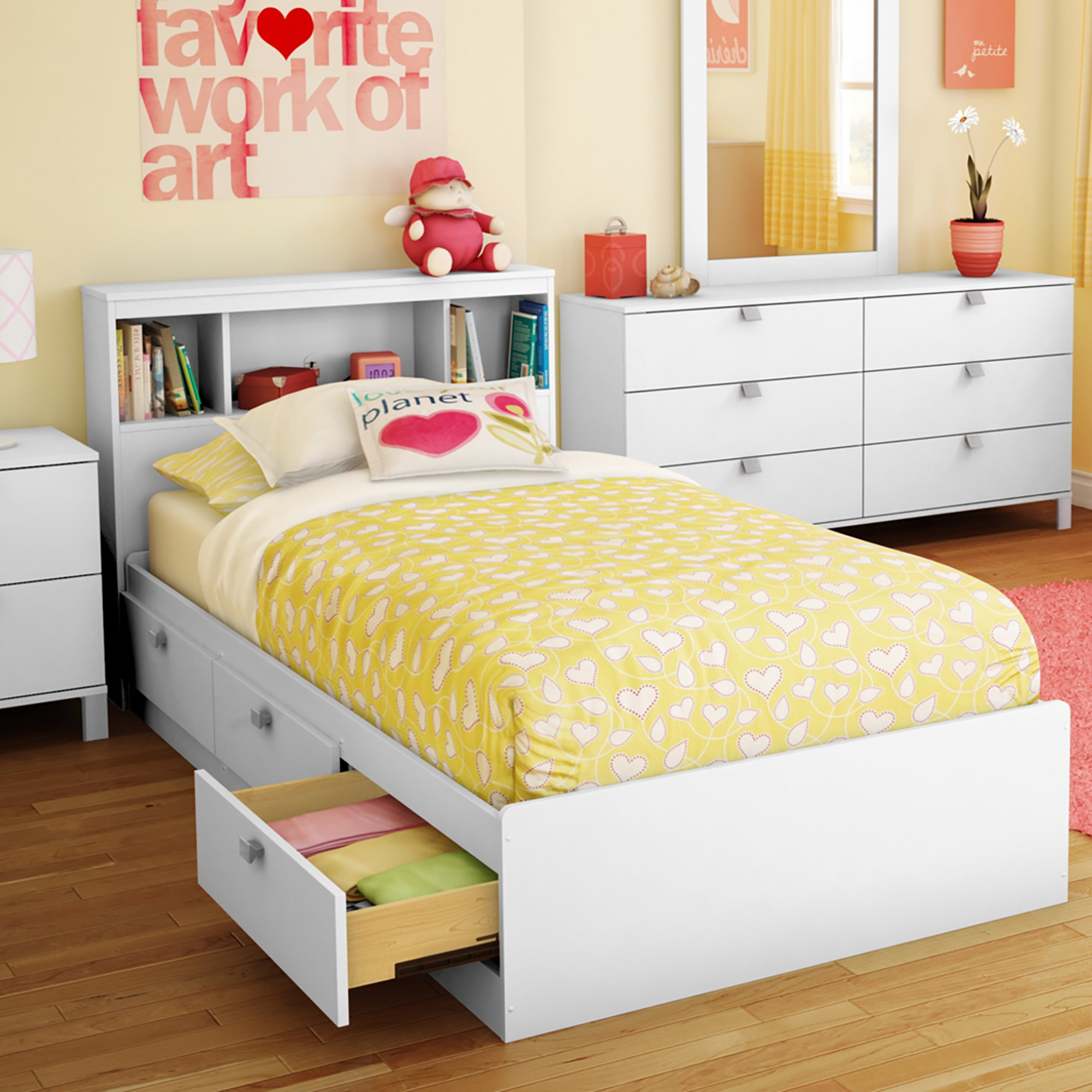 South Shore 3260B2 Spark Twin Storage Bed and Bookcase Headboard, Pure White by South Shore