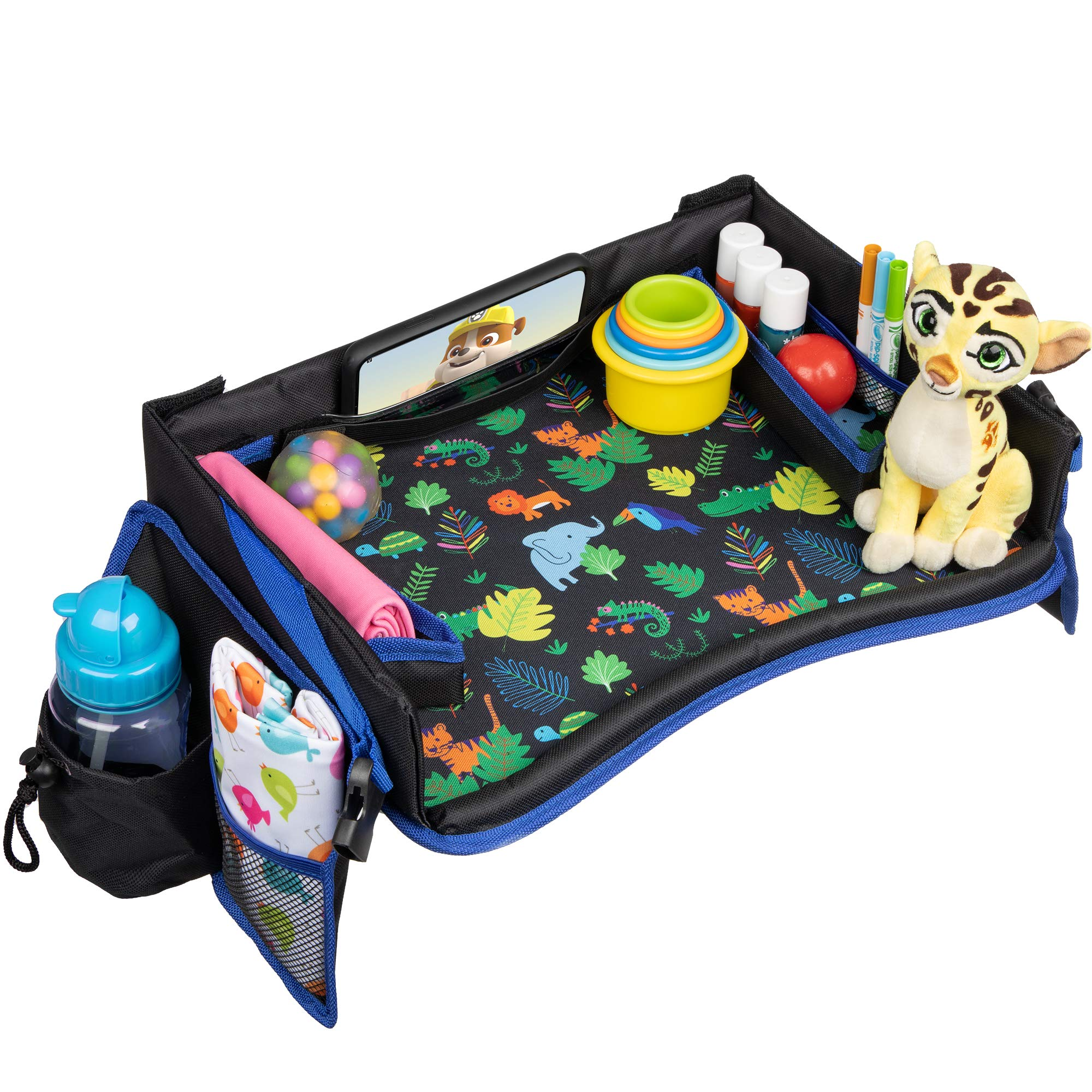 Kids Travel Tray with Carrying Bag - Premium Child Car Seat Activity Tray and Toddler Play Tray Organizer, Snack & Food Tray Carseat, Waterproof & Foldable, Tablet/iPhone Strap and Pouch by Happy Horizons