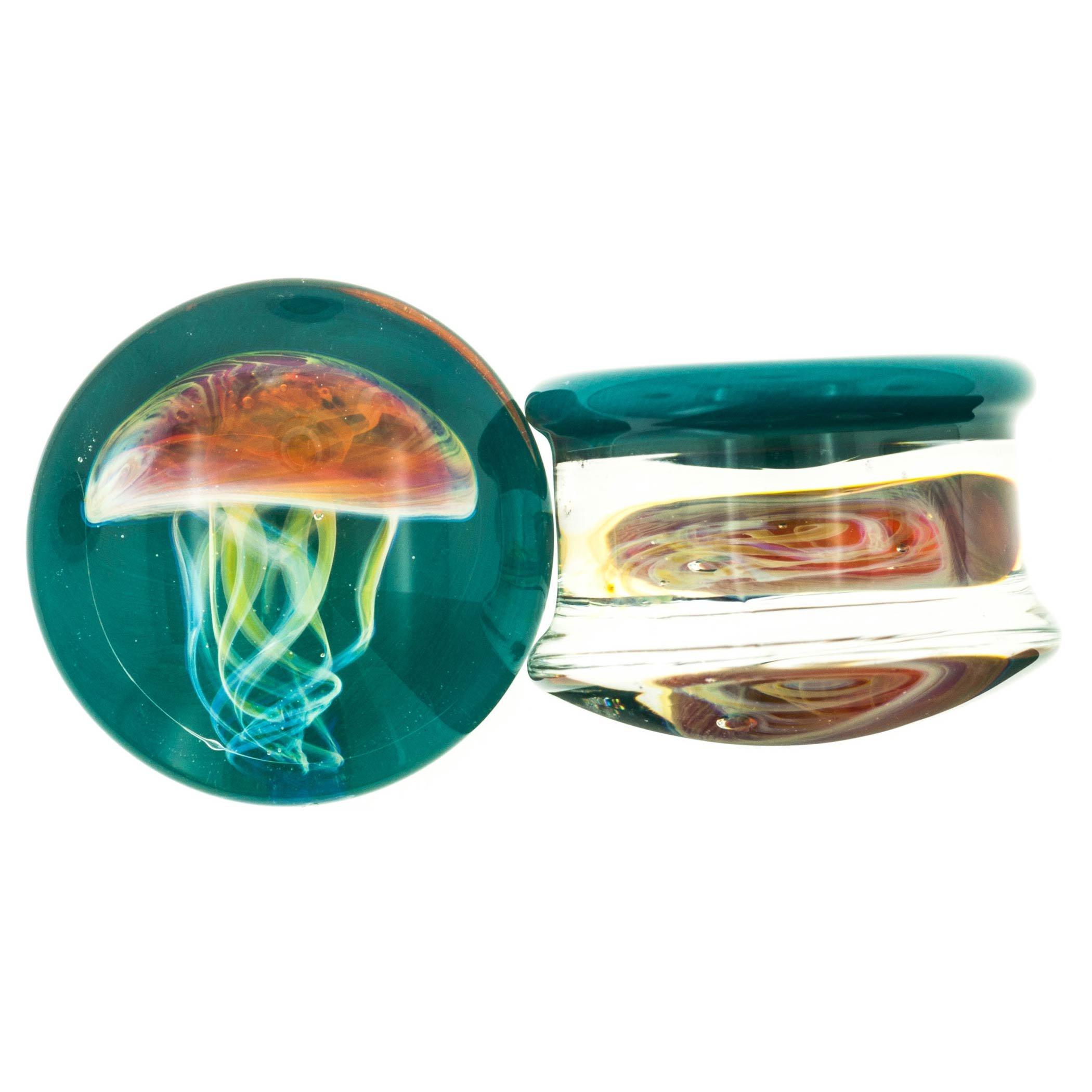 Pair of Glass Double Flared Amber Purple Jellyfish Plugs: 1/2'' Dark Aqua