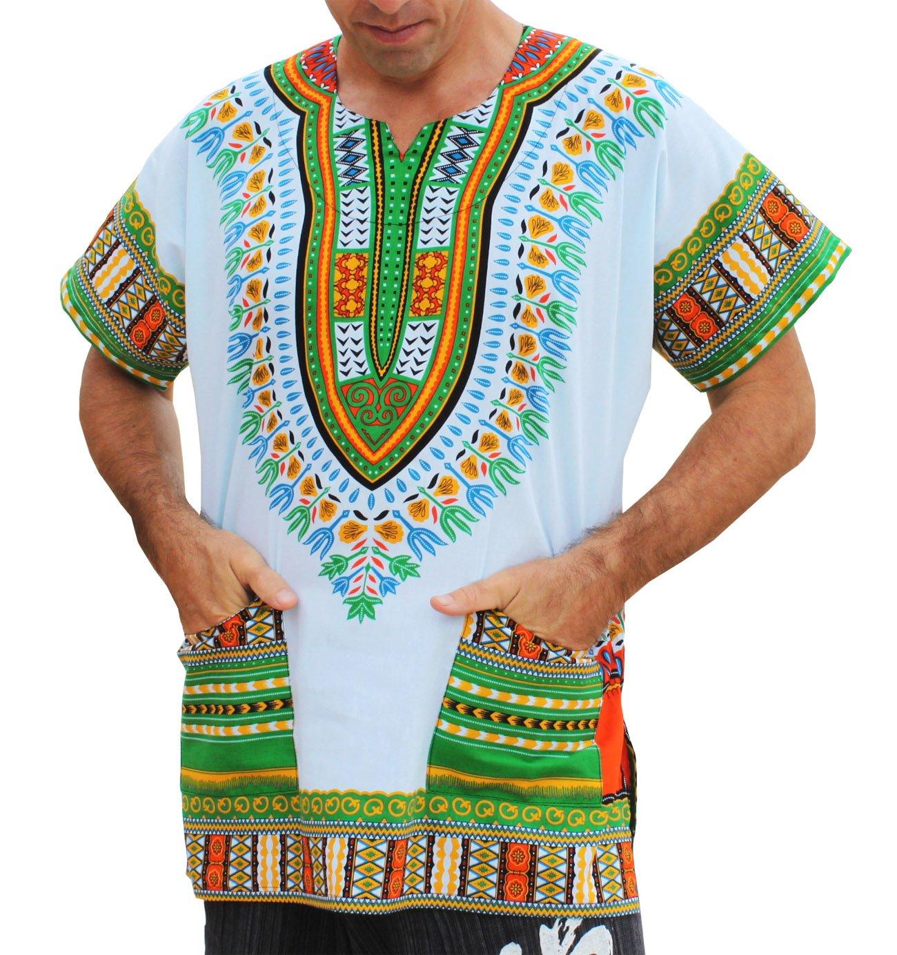 RaanPahMuang Brand Unisex Bright African White Dashiki Cotton Shirt #71 Light Green Medium