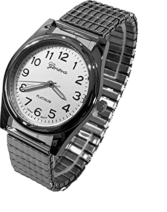 Amazon.com: Geneva Platinum Mens Link Stretch Watch: Geneva ...