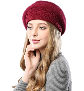5c70636023f Alleza Women s Beret Hat Beanie Cap Fleece Crochet Light Weight Vintage  Pretty Classic