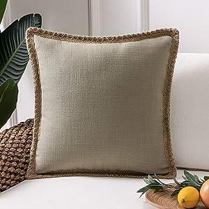 Phantoscope Farmhouse Decorative Throw Pillow Cover Burlap Linen Trimmed Tailored Edges Outdoor Pillow Beige 20 x 20 inches, 50 x 50 cm