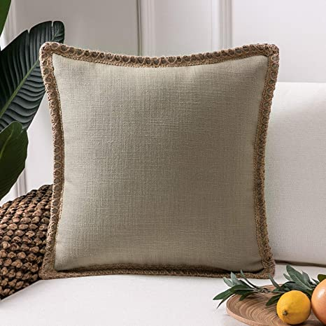 Burlap Pillow Cover Rustic Chic Home Decor Rustic Style Throw Pillows Natural and Ivory Burlap Pillow Shams
