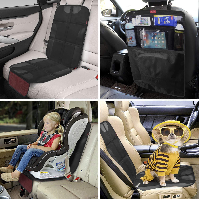 Kick Mat Car Seat Back Protector Organizer Car Seat Protector Waterproof /& Stain Resistant Protective Padding Backseat Kick Mat Storage Pockets Baby Travel Kickmat /& Front//Back Seat Cover Set