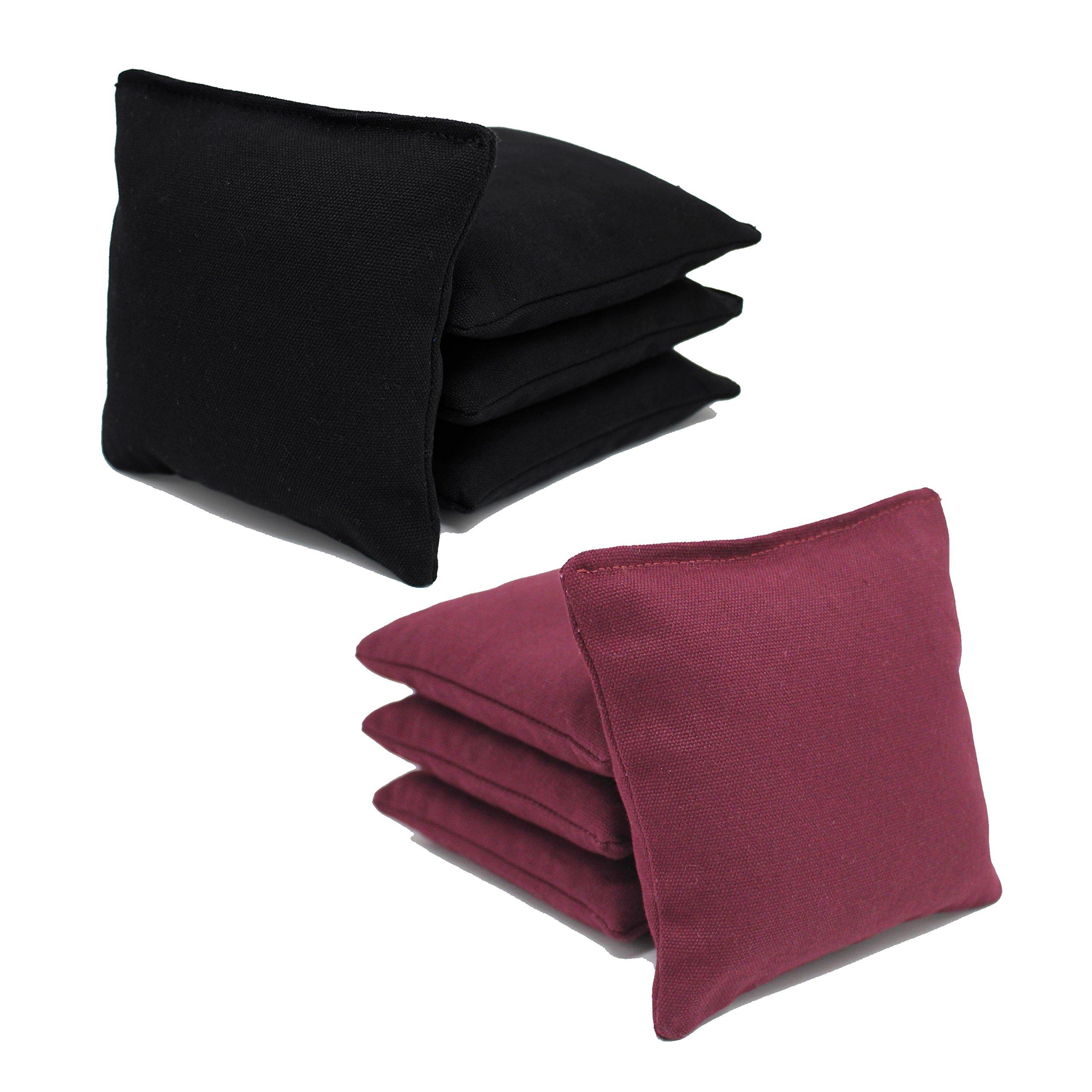 Free Donkey Sports Cornhole Bags (Pack of 8), Black/Burgundy, Regular