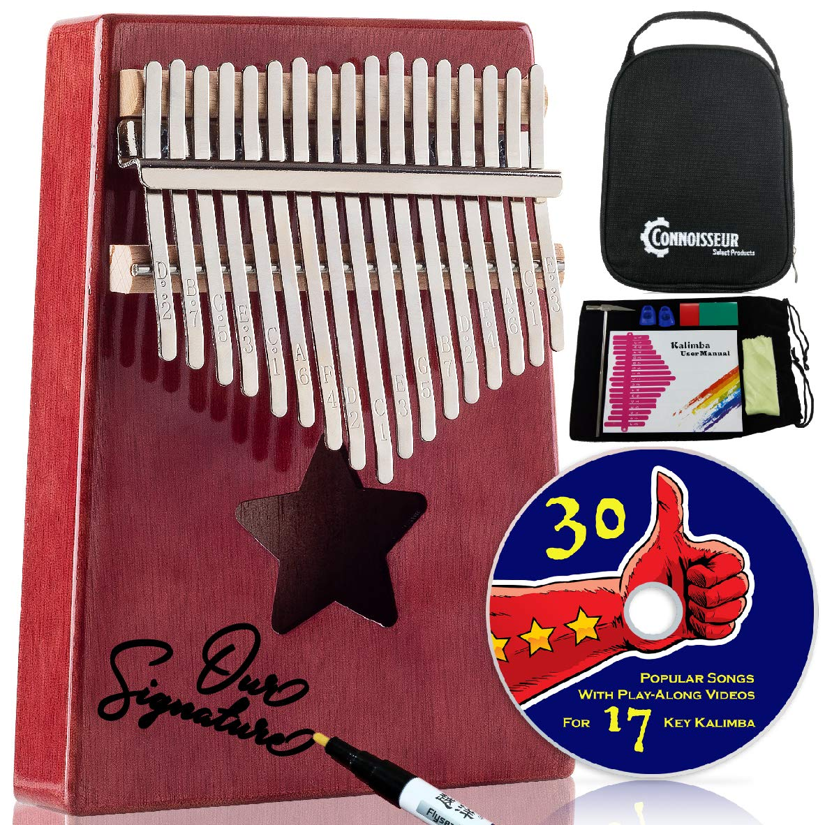 Kalimba 17 Key Thumb Piano - Musical instruments for adults and kids with all accessories, free music e-book and play along videos - Best relaxation gifts