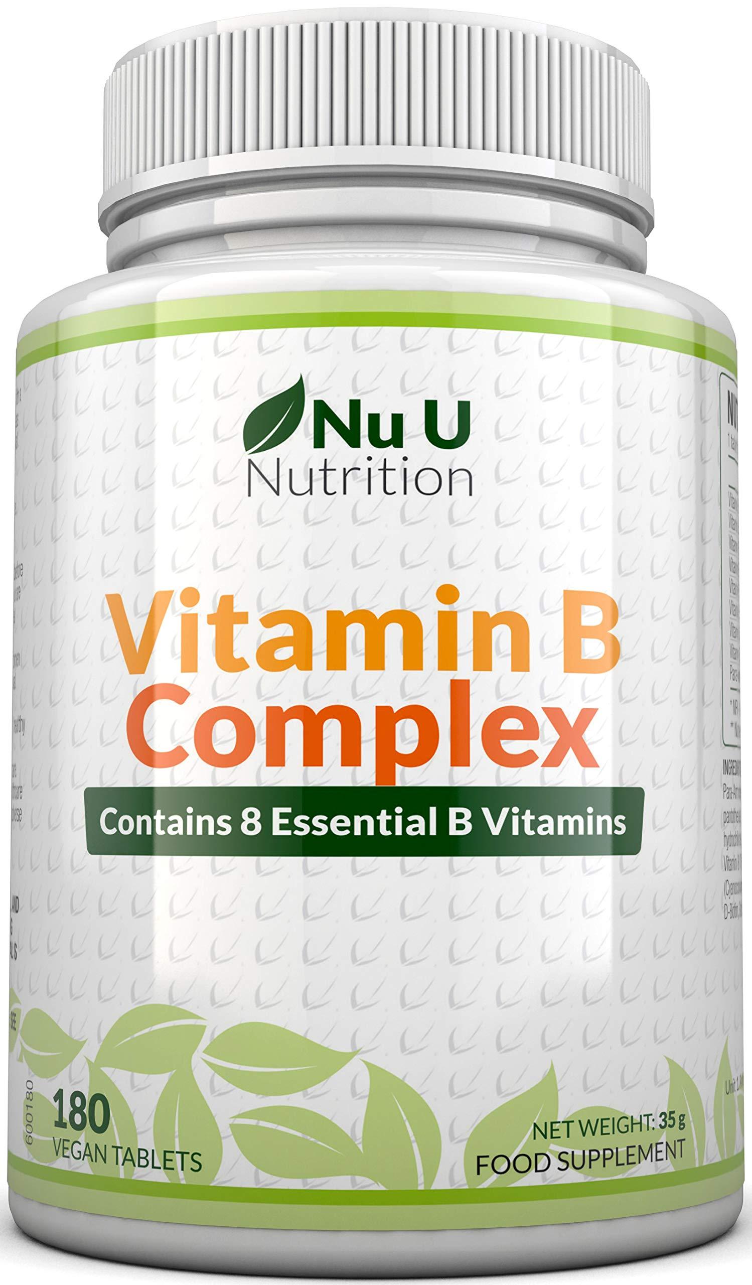 Vitamin B Complex 180 Tablets 6 Month Supply Contains All 8 B Vitamins in 1 Tablet, Vitamins B1, B2, B3, B5, B6, B12, Biotin & Folic Acid, High Strength Vitamin B Complex Vegetarian & Vegan
