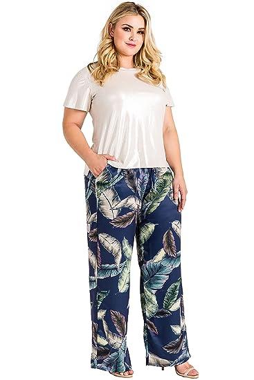 37ec704a80c Standards   Practices Plus Size Leaf Print Washed Satin Drawstring Wide  Pants Size 2X