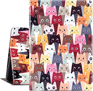 iPad 9.7 inch Case 2018/2017 iPad Air Case, Gofupa Premium Leather Folio Case Cover and Multiple Viewing Angles Stand for Apple iPad 6th / 5th Gen iPad Air 2/ iPad Air(Color Cat)
