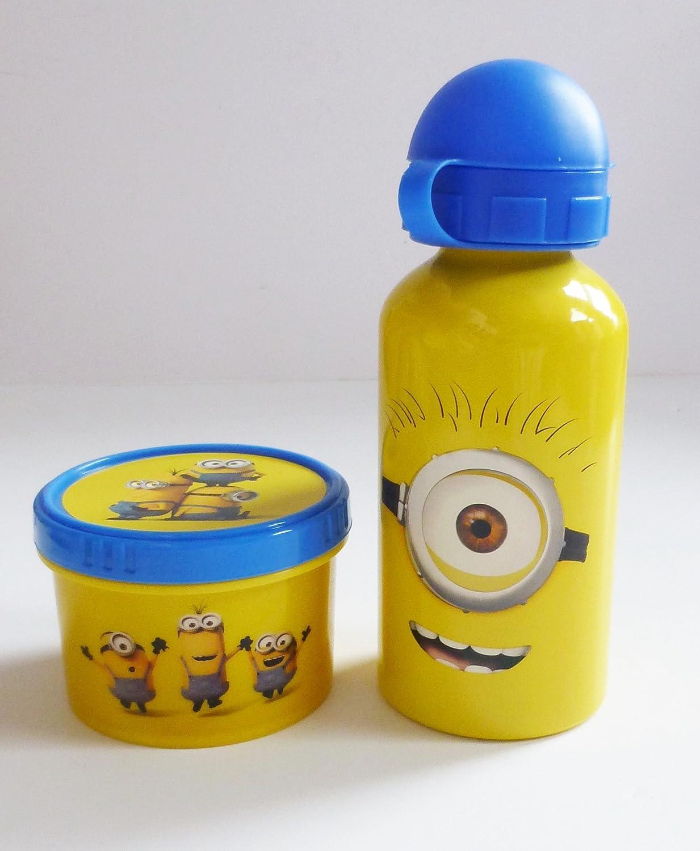 Juego de almuerzo y aperitivo de Minions, bote de plástico y botella de aluminio a juego con personajes de Minions