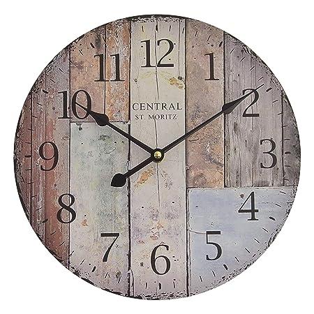 Perla PD Design, Orologio da parete, orologio da cucina, vintage design ca.  Ø 28 cm Diametro 28 cm, Legno, St. Moritz
