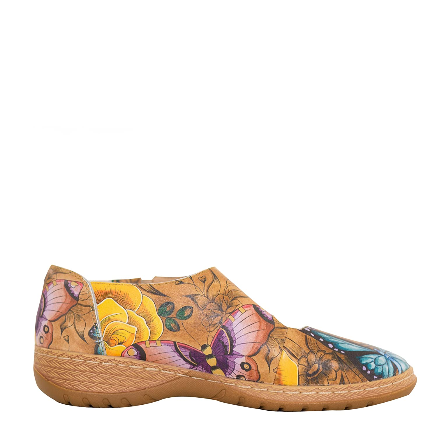 Anuschka Women's Mita Printed Leather Mary Jane,Lovely Leaves B07DB9HQRD 9 B(M) US|Floral Paradise Tan