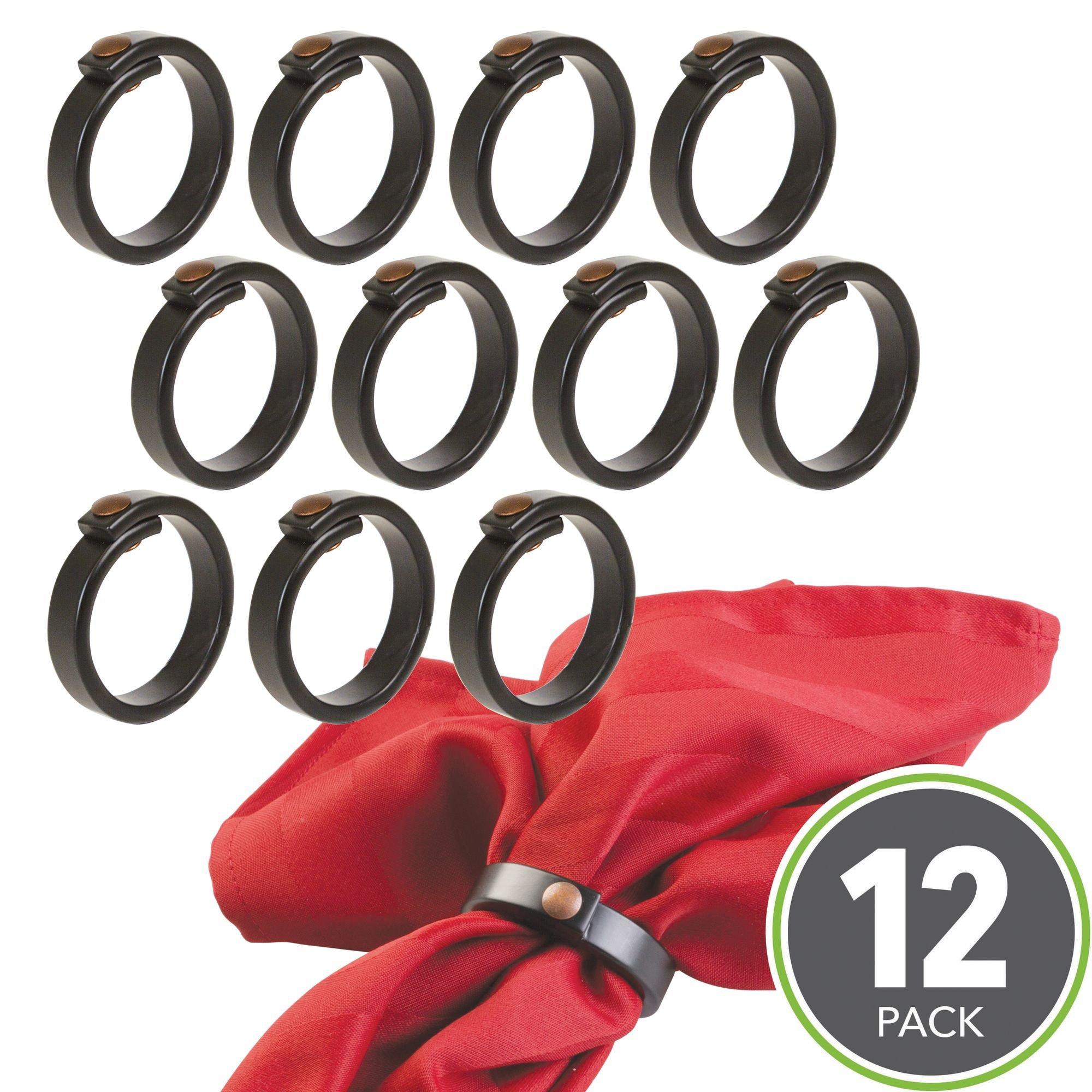 mDesign Metal Napkin Rings for Kitchen, Dining Room, Weddings, Dinner Party - Pack of 12, Matte Black