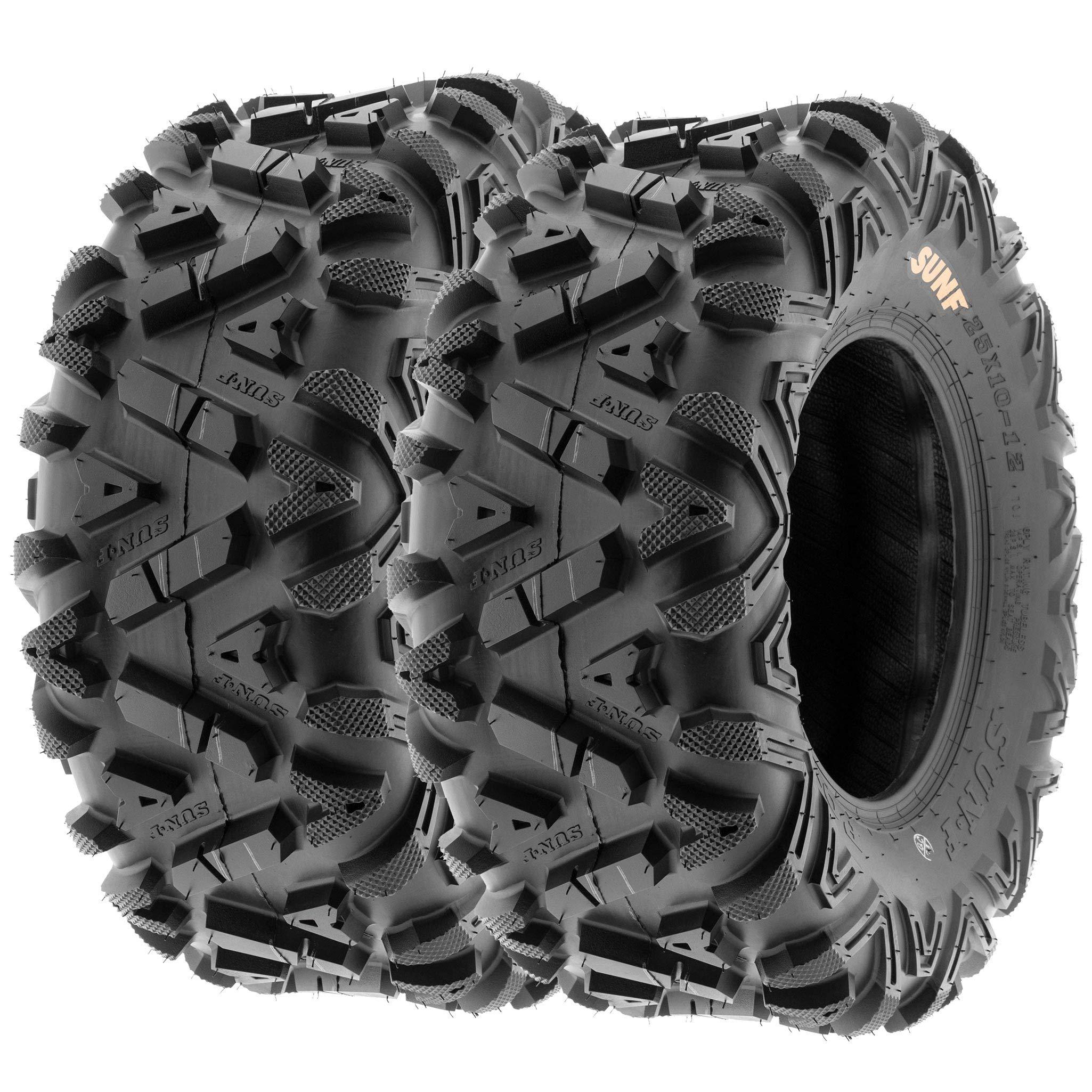 Set of 4 SunF Power.I ATV/UTV AT all-terrain Tires 24x8-11 Front & 24x11-10 Rear, 6 PR, Tubeless A033 by SUNF (Image #3)