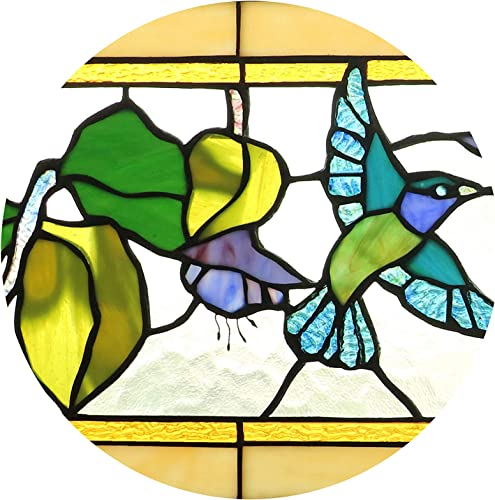 Yogoart Tiffany Style Stained Glass Hummingbirds Fuchsia Horizontal Art Glass Panel 10 x 32
