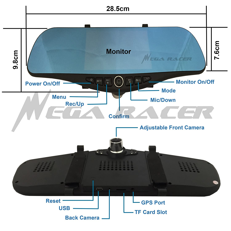 5 in Full HD 1080P Blue 300mm Car Front//Back Up Reverse Rear Camera Video Recorder G-Sensor Interior Rearview Mirror USA Mega Racer 4350447528
