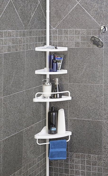 Tekbox 4 Tier Adjustable Bathroom Shower Organiser Corner Shelf Rack ...