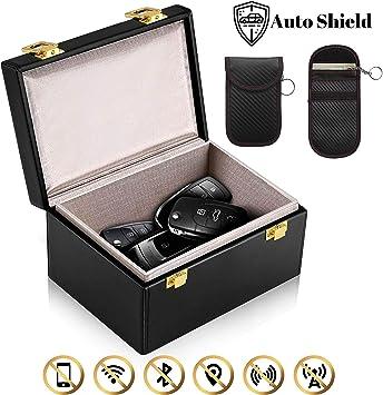 Auto Shield - Bloqueador de señal para llave de coche, caja de Faraday y bolsa, caja de llaves RFID, seguridad sin llave, caja negra antirrobo y bolsa de cuero gratis: Amazon.es: Coche