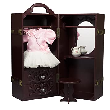 18 Inch Doll U0026 Clothes Mahogany Storage Closet Furniture Fits Two American  Girl Dolls U0026 Clothes