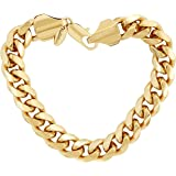 Lifetime Jewelry Cuban Link Bracelet 11MM, Round, 24K Gold Overlay Premium Fashion Jewelry, Guaranteed for Life, 8 - 10 Inches