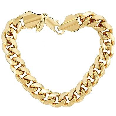 ec69cc6dd43977 Lifetime Jewelry Cuban Link Bracelet 11MM, Round, 24K Gold Overlay Premium  Fashion Jewelry,