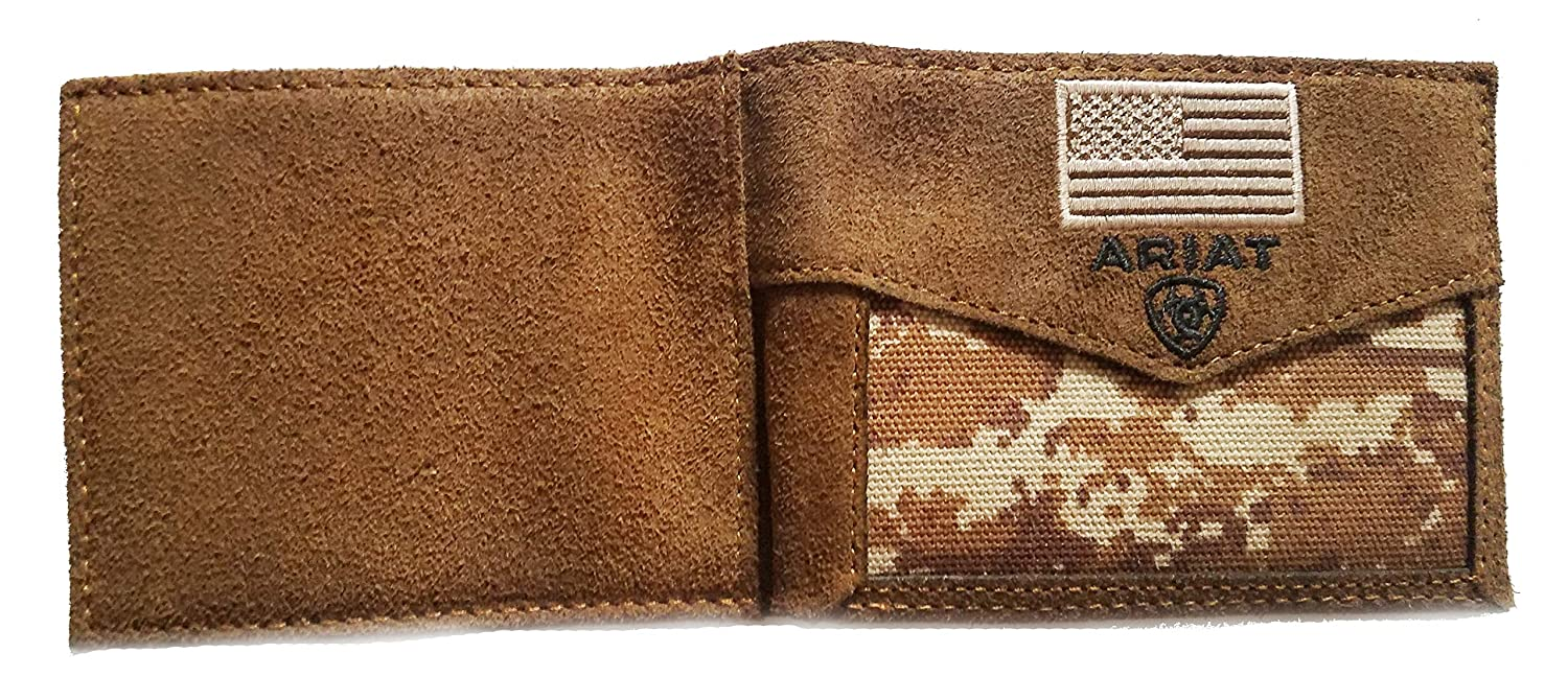 Custom EMT Cross of Life and American Flag Ariat Brown Digital Camo Bi-fold wallet EMS