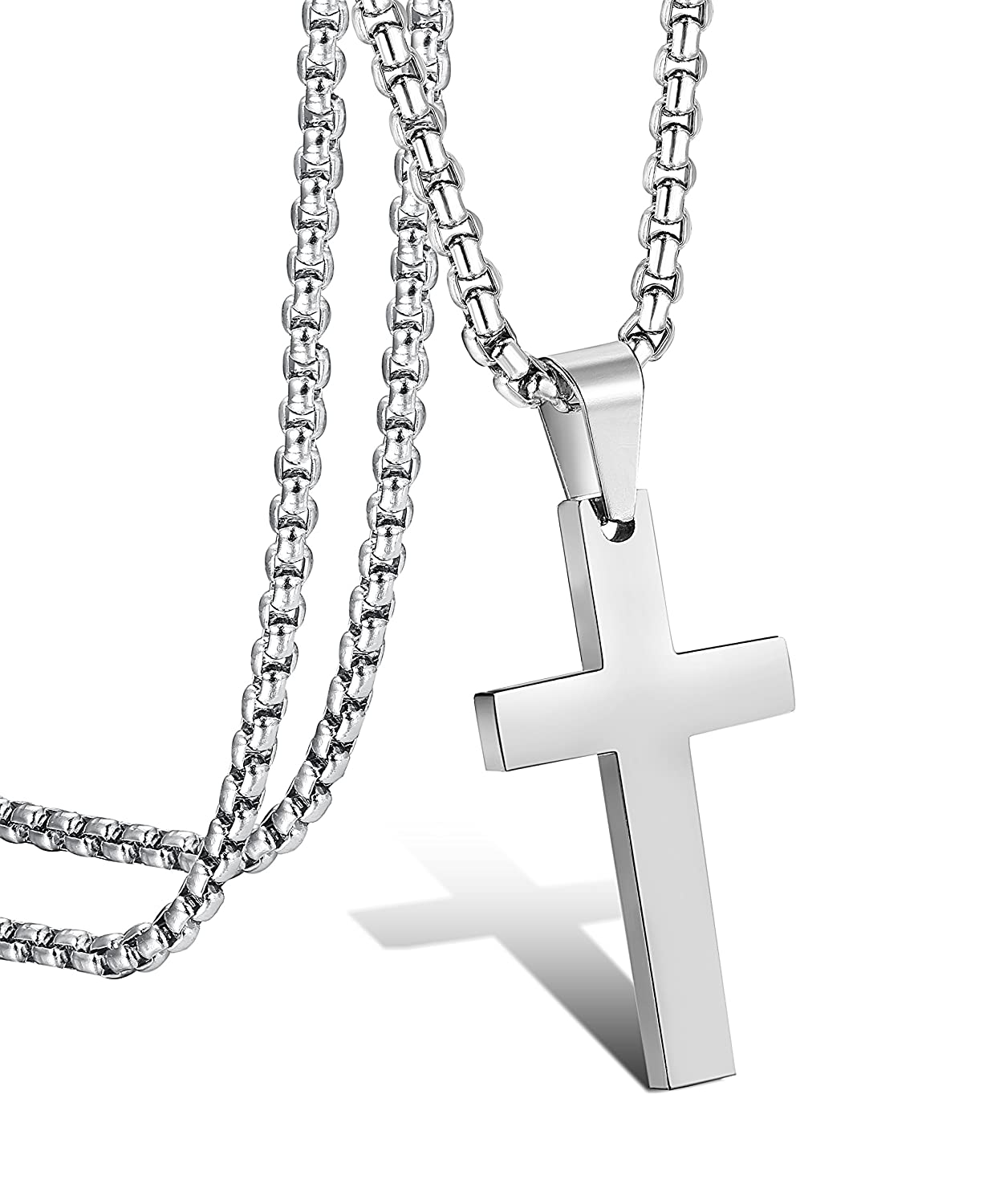 dd0adc44401018 Jstyle Jewelry Mens Simple Cross Necklace Stainless Steel Pendant for Women  22 Inch Small   Amazon.com