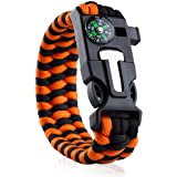 Paracord Survival Bracelet With Compass Fire Starter And Emergency Whistle by Dream On