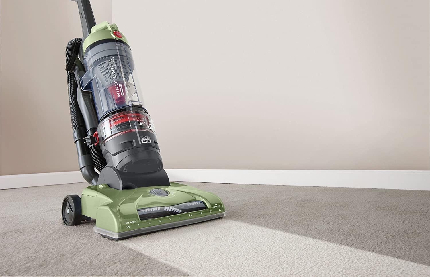 Hoover T-Series WindTunnel Rewind Plus Upright Vacuum Cleaner, with HEPA Media Filtration, Lightweight and Corded, UH70120