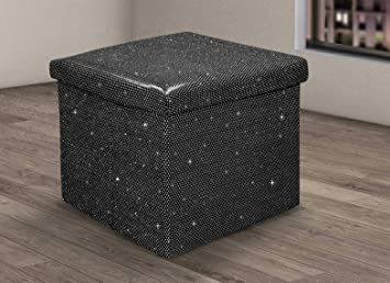 Enjoyable Velosso Luxury Ritz Sparkle Bling Foldaway Ottoman Stool Blanket Box Bench Black 38X38 Cms Bralicious Painted Fabric Chair Ideas Braliciousco