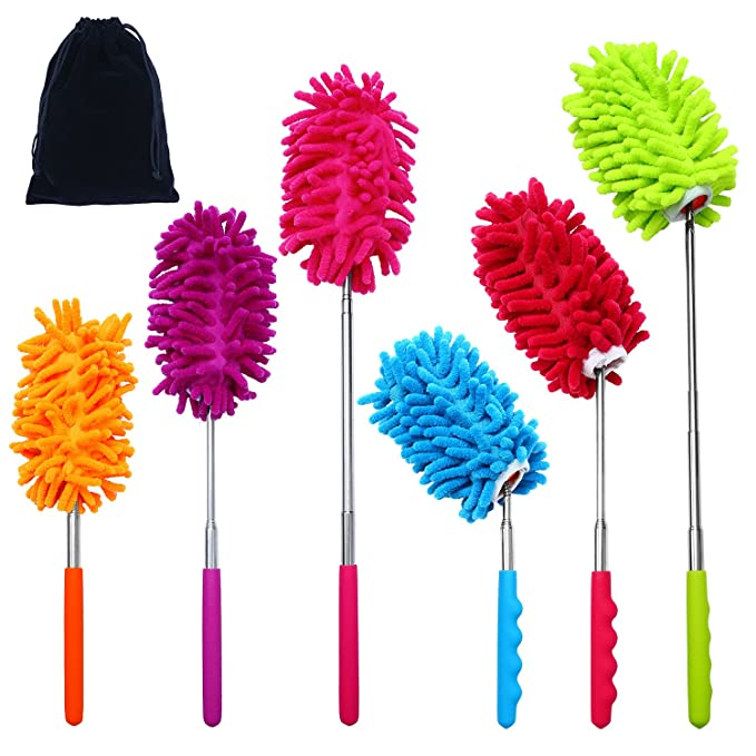4 Colors Aneco 4 Pack Bendable Extendable Microfiber Duster Dusting Brush Set with 4 Free Duster Heads with Telescoping Pole for Home Office Car with Storage Bag
