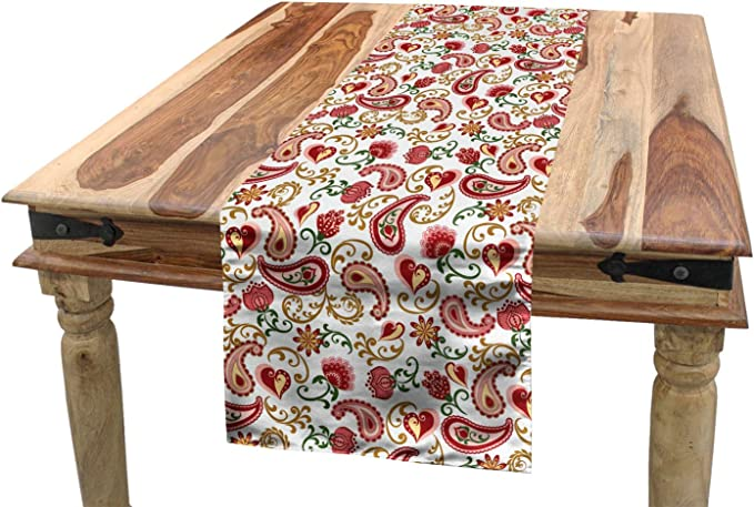 Red and Pale Pink Soft Comfortable Top Sheet Decorative Bedding 1 Piece Style Rose and Swirled Floret Buds Bohemian Lady Feminine Art Print Twin Size Ambesonne Paisley Flat Sheet