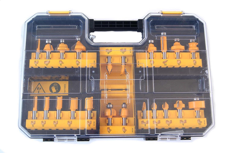 DeWalt Hartmetall Frä ser Set (22-tlg., mit Anti Kickback Design, Premium Stahlkö rper, HM Schneidplatten und austauschbarem Kugellager, inkl. Box) DT90017
