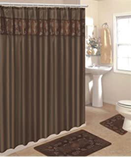 Nice 4 Piece Bathroom Rug Set/ 3 Piece Chocolate Ring Bath Rugs With Fabric  Shower Curtain