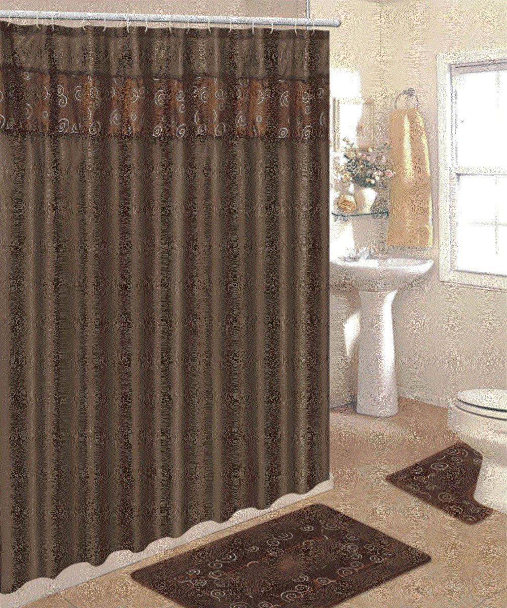 Amazoncom  Piece Bathroom Rug Set  Piece Chocolate Ring Bath - Burgundy shower curtain sets